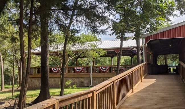 Deck leading to winery